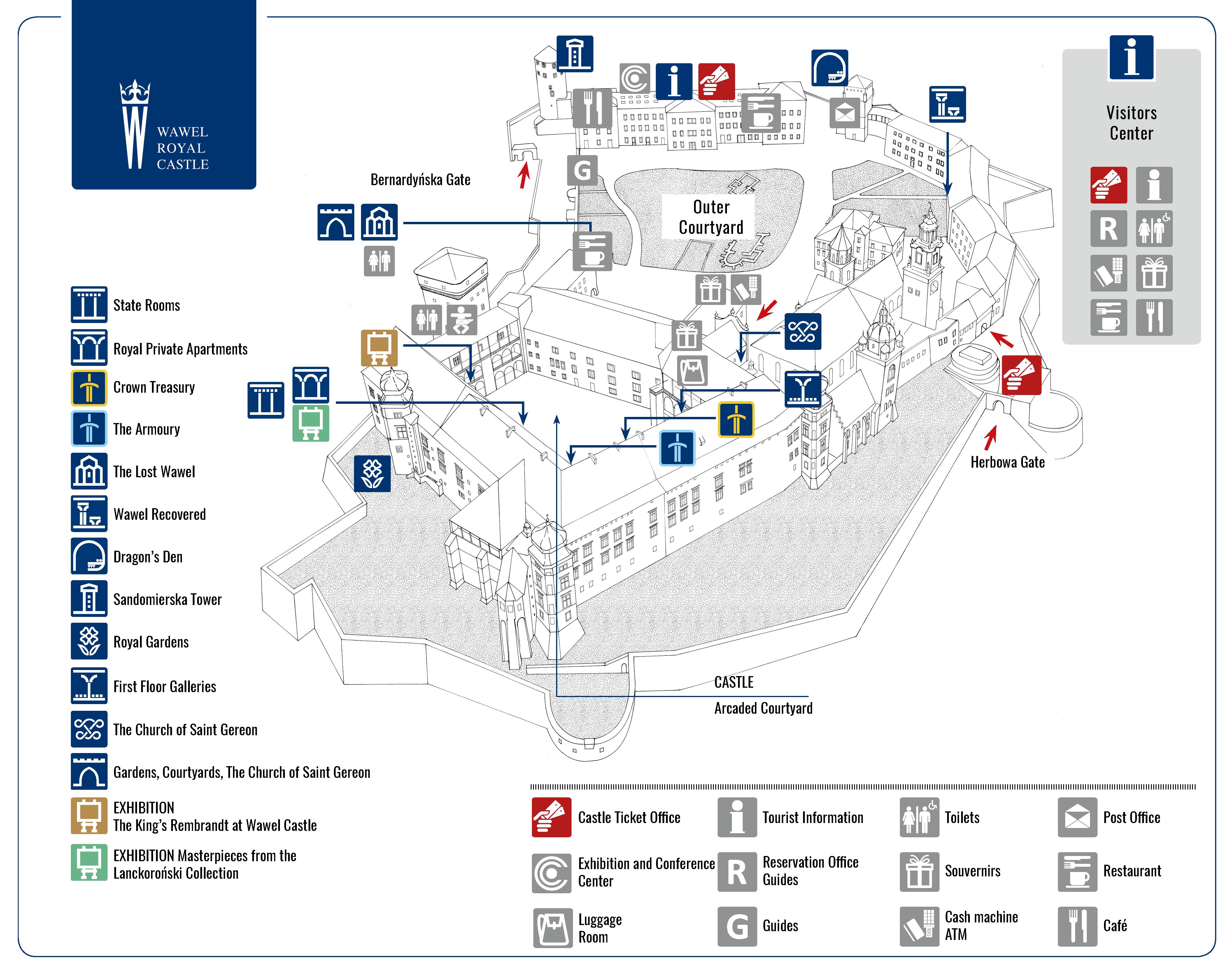 Wawel Royal Castle Map Of The Wawel Hill